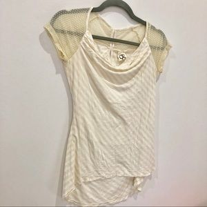 One September ivory striped blouse Sz s